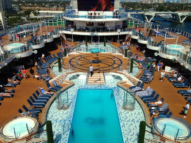 The main pool featured a new look, the biggest screen at sea, and an extensive deck.